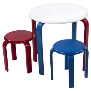 Childs Table and 2 Stools set white childrens kids